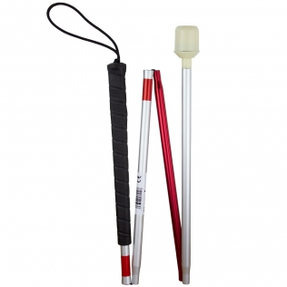 Bâton pliable pour aveugles et malvoyants | Avec sangle | Reflechissant | Aluminium léger