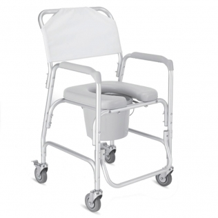 Chaise de douche à roulettes | Chaise percée pour la douche | Aluminium | Mobile