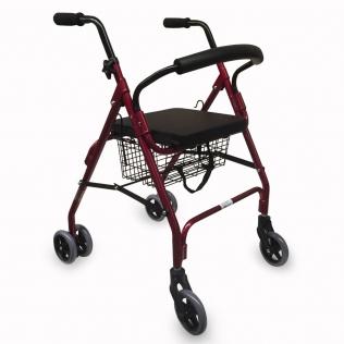 Déambulateur 4 roues | Rollator avec siège et panier | Freins à pression | Aluminium | Finitions bordeaux