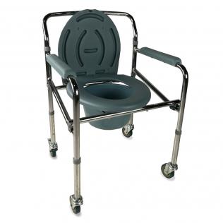 Chaise percée | Chaise WC | Pliable | Avec couvercle, roulettes et accoudoirs rembourrés | Acier chromé | Muelle | Mobiclinic