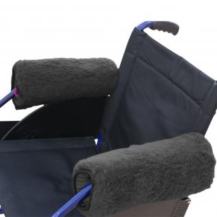 Paire de protège-accoudoirs pour fauteuil roulant | Couleur gris | Texture douce | 34 x 34 cm