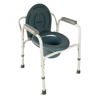 Chaise percée   Avec couvercle, embouts antidérapants et accoudoirs rembourrés   Acier chromé   Arroyo   Mobiclinic