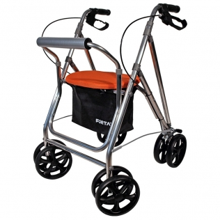 Déambulateur à 4 roues pliable | Déambulateur avec siège et panier | Freins | Couleur Orange | Mod. Kanguro Plus