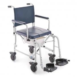 Chaise de douche et toilettes à roulettes | Fauteuil roulant douche et WC pliable | Accoudoirs et repose-pied | LIMA de Invacare