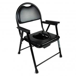 Chaise WC | Pliable | Noir | Acier chromé | Guadalquivir | Mobiclinic