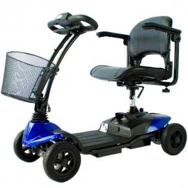 Scooter électrique pour personne âgée | 4 roues | Compact et démontable | Auton. 10 km | 12V | Bleu | Virgo | Mobiclinic