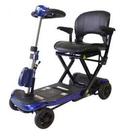 Scooter électrique à 4 roues | Pliage télécommandé | Fiable et puissant | Auton. 15 km | 24V | Bleu | Ulises | Mobiclinic