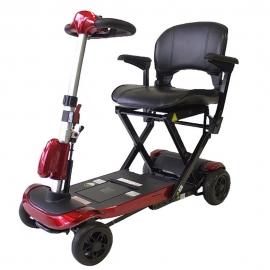 Scooter électrique à 4 roues | Pliage télécommandé | Fiable et puissant | Auton. 15 km | 24V | Rouge | Ulises | Mobiclinic
