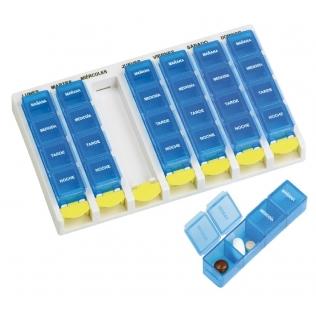 Pilulier semainier | 4 prises quotidiennes | Organisateur de médicaments | Couleur bleu
