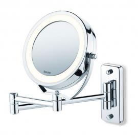 Miroir avec lumière LED et zoom pour le maquillage | Beurer | Miroir mural de maquillage (amovible) 2 en 1 | Fait en chrome