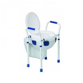 Elévateur de toilettes avec couvercle   Chaise WC   Pieds réglables   Accoudoirs   Max 150 kg