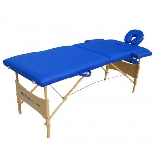 Table de massage pliante   Kinesithérapie   Bois   Revêtement similicuir   186x60 cm   Bleu   CM-01 Light   Mobiclinic