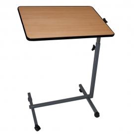 Table d'appoint à roulettes | Pour lit et canapé | Réglable en hauteur | Plateau inclinable | Couleur bois
