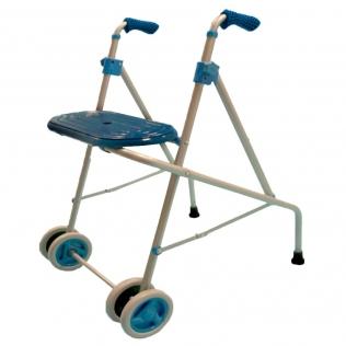 Déambulateur en aluminium 4 rouges   Avec double roues à l'avant et siège   Couleur bleu