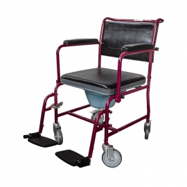 Chaise percée à roulettes   Accoudoirs et repose-pieds rabattables et amovibles   Bordeaux   Ancla   Mobiclinic