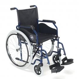 """Fauteuil roulant avec grandes roues   Roue de 24""""   Repose-pieds repliables et amovibles   Couleur bleu   Breezy 90"""