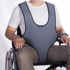 Harnais veste de soutien périnéale de type plastron pour fauteuil roulant