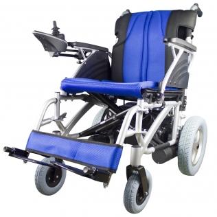 Fauteuil roulant électrique pliable   Bleu et noir   Auton. 20 km   24V   Aluminium   Lyra   Mobiclinic