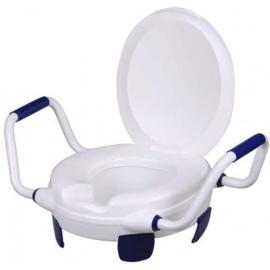 Rehausseur WC   Avec couvercle   Accoudoirs   Hauteur 11 cm   Jusqu'à 110 kg