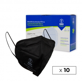 10 masques pour adultes FFP2 | Noir | 0,94€ | Autofiltrant | Marqué CE | Boîte de 10 pièces | EMO