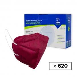 620 Masques adultes FFP2 | Bordeaux | 0,79€ | Autofiltrants | Marqués CE | 62 boîtes de 10 pièces | EMO