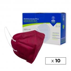 10 masques FFP2 pour adultes FFP2 | Bordeaux | 0,89€ | Autofiltrant | Marqué CE | Boîte de 10 pièces | EMO
