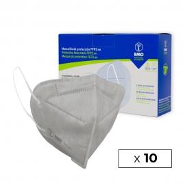 10 masques pour adultes FFP2 | Gris perle | 0,89€ | Autofiltrant | Marqué CE | Boîte de 10 pièces | EMO