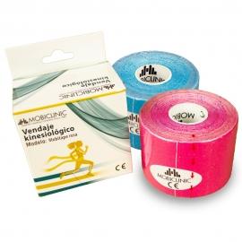 Pack de 2 Kinesiotape   Rose et Bleu   Bandage Neuromusculaire   5mx5cm   Mobitape   Mobiclinic