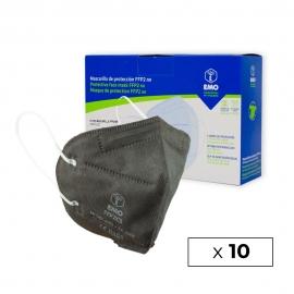 10 Masques pour adultes FFP2 | Gris Anthracite | 0,89€ | Autofiltrants | Marquage CE | Boîte de 10 pièces | EMO