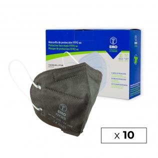 10 Masques pour adultes FFP2   Gris Anthracite   0,89€   Autofiltrants   Marquage CE   Boîte de 10 pièces   EMO
