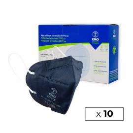 10 Masques pour adultes FFP2 | Bleu Marine | 0,89€ | Autofiltrants | Marquage CE | Boîte de 10 pièces | EMO