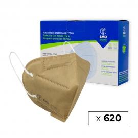 620 Masques pour adultes FFP2 | Beige | 0,79€ | Autofiltrants | Marquage CE | 62 boîtes de 10 pièces | EMO