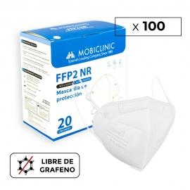 100 Masques Adultes FFP2 Blancs | 0,34€/ pièce | Sans graphène | 5 couches | Sans valve | Marquage CE | 5 boîtes de 20 pcs