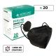 20 Masques Adultes FFP2 Noirs   0,64€/ pièce   Sans graphène   5 couches   Sans valve   Marquage CE   Boîte de 20 pcs - Foto 1