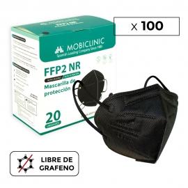 100 Masques Adultes FFP2 Noirs | 0,39€/ pièce | Sans graphène | 5 couches | Sans valve | Marquage CE | 5 boîtes de 20 pcs