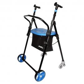 Déambulateur pliable à 4 roues   En acier  Modèle AIR ON plus   Couleur: bleu   Forta
