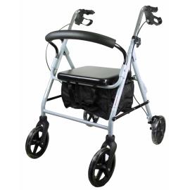 Déambulateur à 4 roues pour personnes âgées | Réglable et pliable | Avec dossier et siège | Gris | Sofía | Mobiclinic