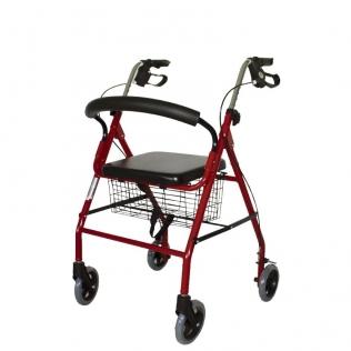 Deambulatore 4 ruote | Pieghevole e regolabile | Cestino e seduta imbottita | Rosso | Alluminio | Alhambra | Mobiclinic