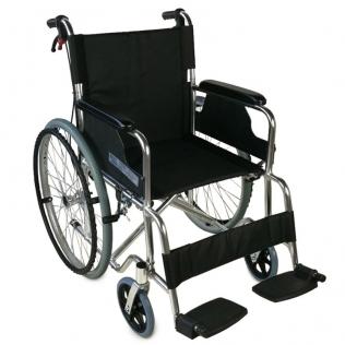 Sedia a rotelle TOP | Braccioli fissi | Poggiapiedi removibili | Freni a mano | Alluminio | Nero | Palacio | Mobiclinic