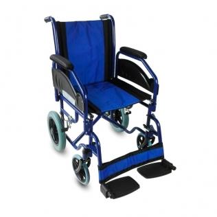 Sedia a rotelle VIP | Pieghevole | Braccioli e poggiapiedi estraibili | Acciaio | Blu | Maestranza | Mobiclinic