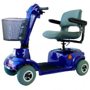 Scooter elettrico a 4 ruote per disabili | Sedile girevole e pieghevole | Autonomia 34 km | 12V | Blu | Piscis | Mobiclinic