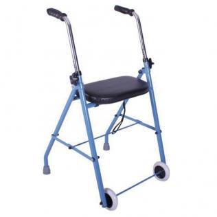 Deambulatore | Girello per anziani | Rollator | Pieghevole | 2 ruote | Sedile imbottito | Leggero