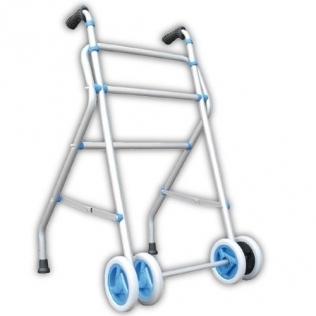 Deambulatore in alluminio a doppia ruota anteriore | Altezza regolabile 85-95 cm | Peso max 100 kg