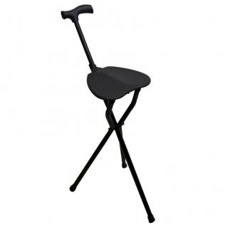 Bastone treppiedi con seduta | Bastone pieghevole in alluminio con impugnatura Derby | Colore: nero