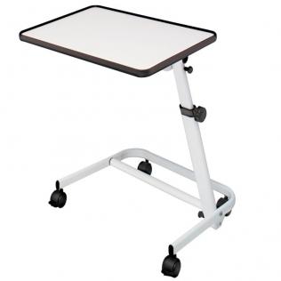Tavolino a rotelle pieghevole   Tavolino inclinabile con ruote e freni   Da camera   Multiuso   Bianco