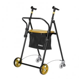 Deambulatore | Girello per anziani | 4 ruote | Acciaio | Pieghevole | Vaniglia | Air On Plus | FORTA