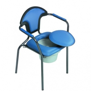 Sedia wc | Con braccioli | Coperchio | Toilette da camera | Blu