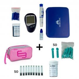 Set misuratore di glicemia + lancette + strisce + astuccio rosa Elite Bags   Misura glucosio nel sangue  Pacchetto risparmio