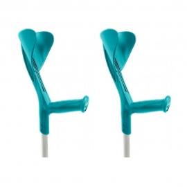 Stampelle | Pack 2 bastoni canadesi | Impugnatura ergonomica regolabile in altezza | Alluminio | Verde petrolio | Evolution Fun