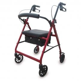 Deambulatore | 4 ruote | Pieghevole | Con sedile e sacchetto